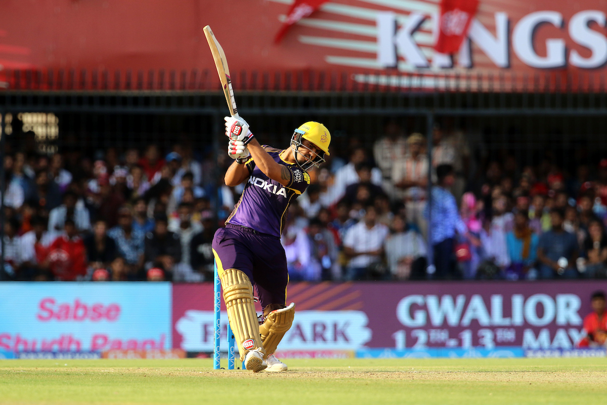Nitish Rana of the Kolkata Knight Riders plays a shot during match forty four of the Vivo Indian Premier League 2018 (IPL 2018) between the Kings XI Punjab and the Kolkata Knight Riders held at the Holkar Cricket Stadium, Indore on the 12th May 2018.