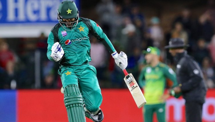 PORT ELIZABETH, SOUTH AFRICA - JANUARY 19: Mohammad Hafeez of Pakistan celebrates victory during the 1st Momentum One Day International between South Africa and Pakistan at St Georges Park on January 19, 2019 in Port Elizabeth, South Africa. (Photo by Richard Huggard/Gallo Images/Getty Images)