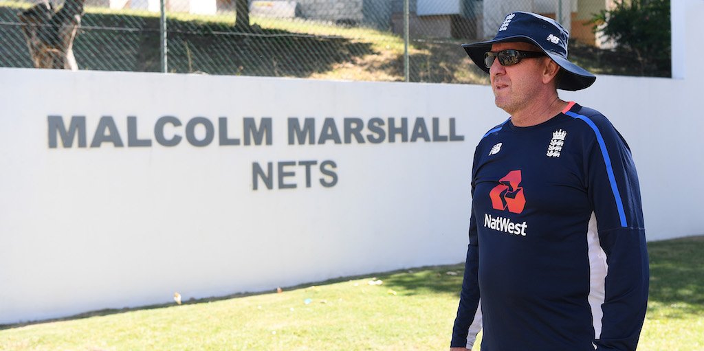 BRIDGETOWN, BARBADOS - JANUARY 13: England head coach Trevor Bayliss looks on during net practice at the Three Ws Oval on January 13, 2019 in Bridgetown, Barbados. (Photo by Shaun Botterill/Getty Images)