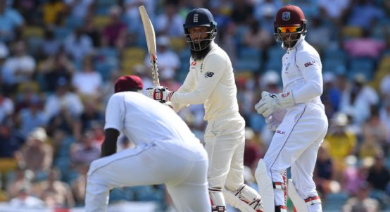 Moeen Ali out Roston Chase day four West Indies England