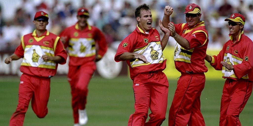 29 May 1999: Neil Johnson of Zimbabwe celebrates a wicket during the World Cup Group A game against South Africa at Chelmsford in England. Zimbabwe won by 48 runs. Mandatory Credit: Phil Cole /Allsport