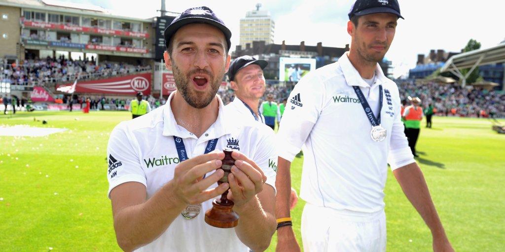 Mark Wood holding Ashes