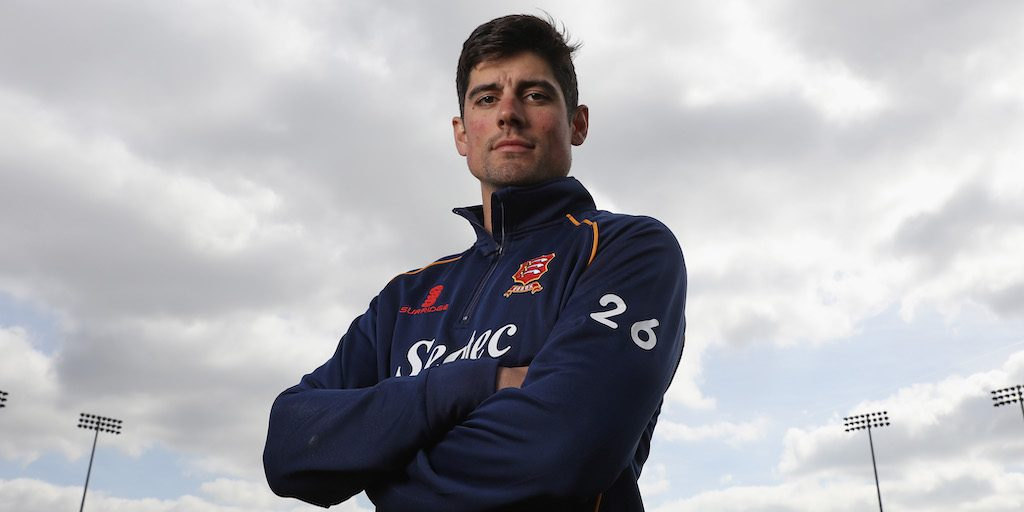 CHELMSFORD, ENGLAND - APRIL 05: Alastair Cook poses for a portrait during the Essex CCC photocall at Cloudfm County Ground on April 5, 2017 in Chelmsford, England. (Photo by Steve Bardens/Getty Images)