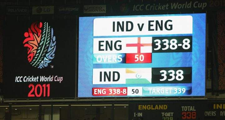 during the 2011 ICC World Cup Group B match between India and England at M. Chinnaswamy Stadium on February 27, 2011 in Bangalore, India.