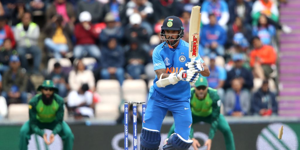 Shikhar Dhawan broken bat South Africa India World Cup PA