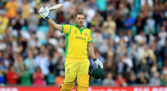 Aaron Finch 100 Australia Sri Lanka World Cup PA