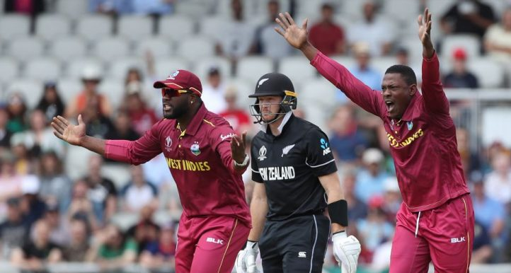 Sheldon Cottrell Martin Guptill West Indies New Zealand World Cup PA