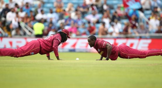 Chris Gayle Carlos Brathwaite West Indies Afghanistan World Cup PA