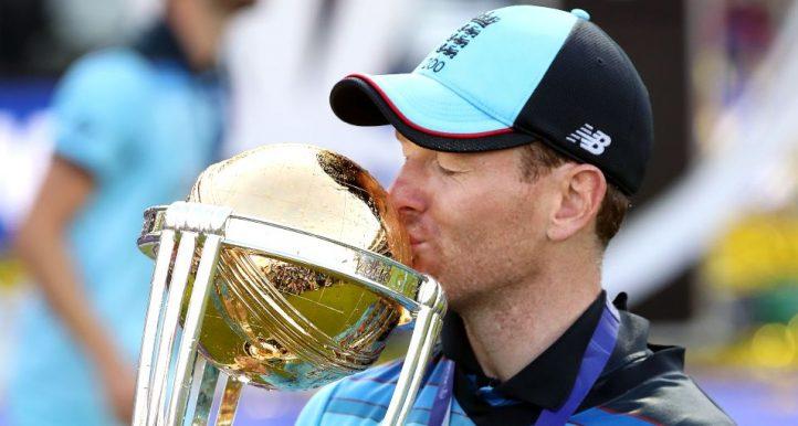 Eoin Morgan England Cricket World Cup trophy