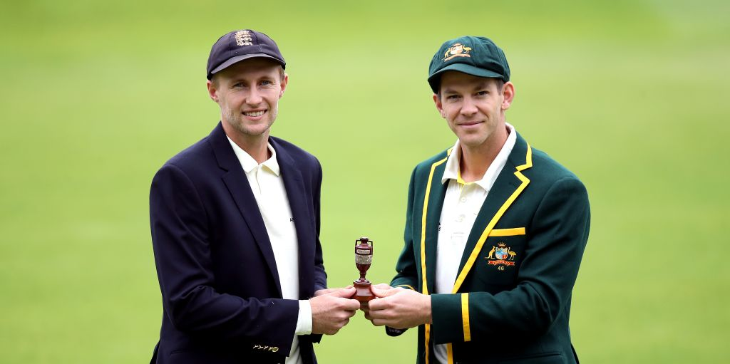 Joe Root Tim Paine Ashes urn PA