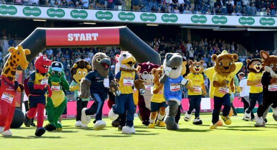 T20 Finals Day Mascot Race runners and riders