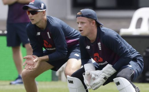 Ollie Pope keeping wicket England practice PA
