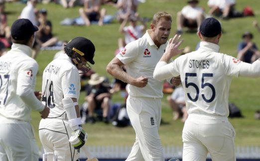 Stuart Broad celebrates Tom Latham out New Zealand England PA