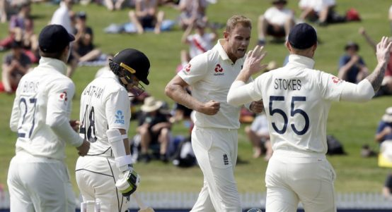 Stuart Broad celebrates Tom Latham out New Zealand England PA