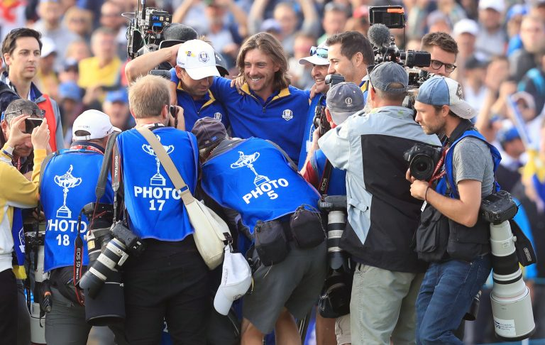 Tommy Fleetwood (centre) helped Team Europe win the 2018 Ryder Cup in Paris