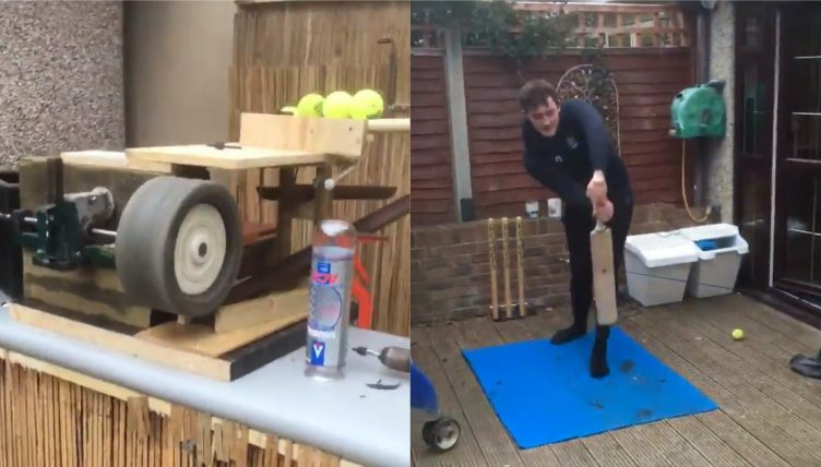 Dad builds lockdown bowling machine using golf trolley for cricket-mad son