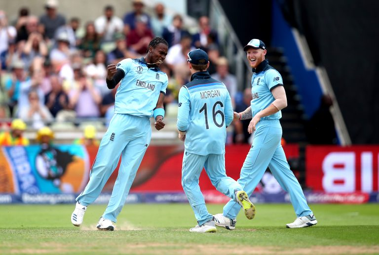 Jofra Archer, left, bowled the super over in the World Cup final (Nick Potts/PA)
