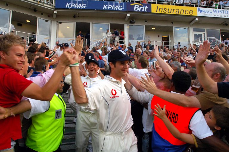 Fans celebrate with England captain Michael Vaughan in 2005.