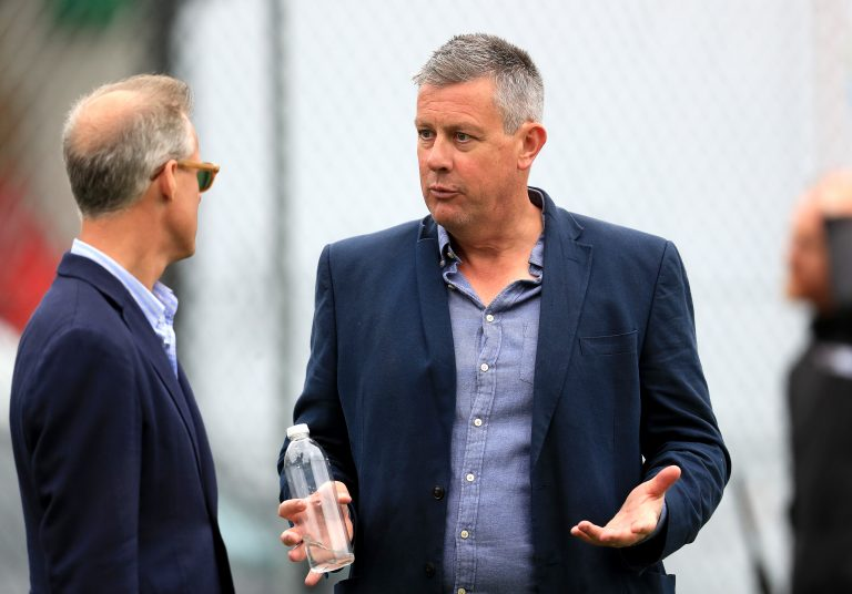 Giles (right) and national selector Ed Smith (left) have both helped choose players.