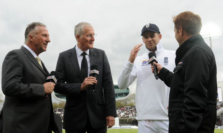 Anderson, second right, speaks about his achievement with Sir Ian Botham, left, and Bob Willis, second left (Anthony Devlin/PA)