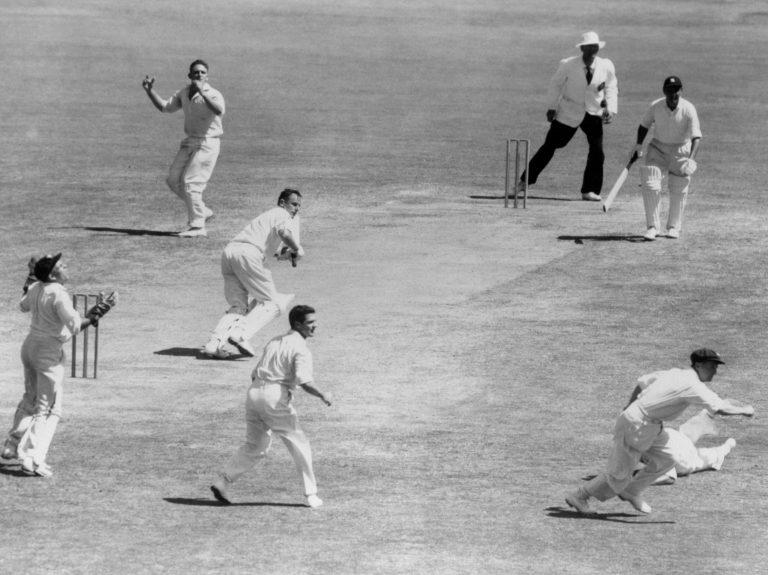 Peter May batting against Australia.