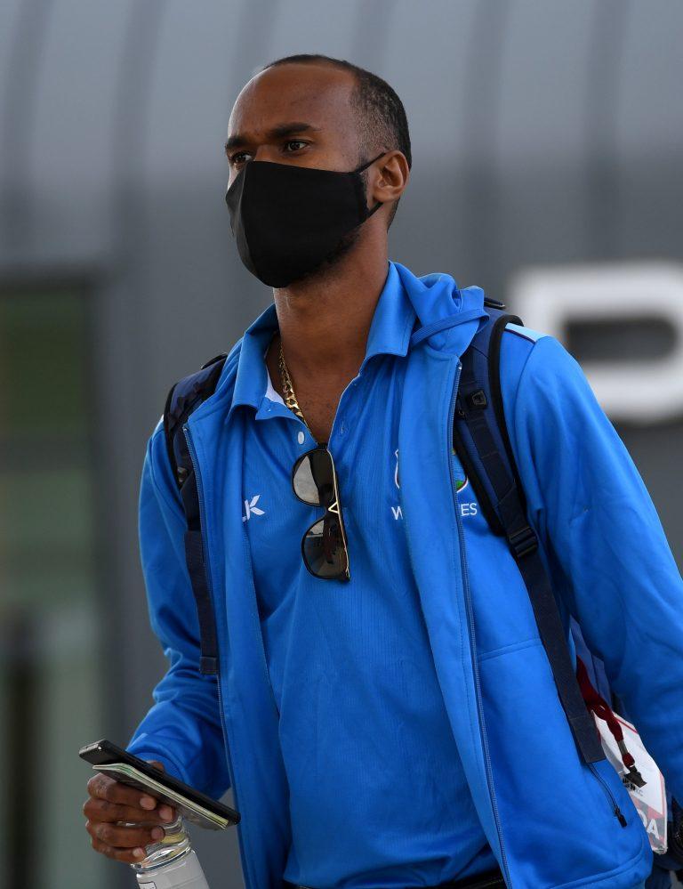 Kraigg Brathwaite on arrival in Manchester.