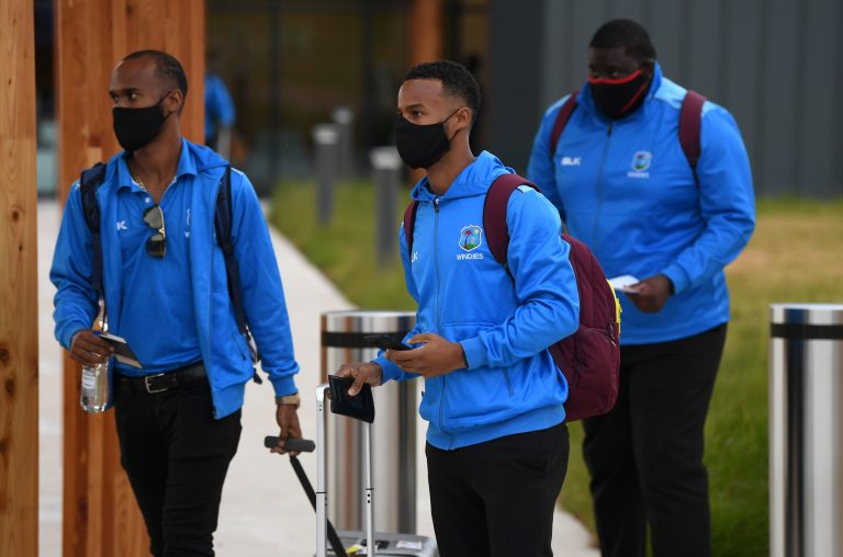 The West Indies are the first international side to arrive into the UK since lockdown was implemented in March (England and Wales Cricket Board)