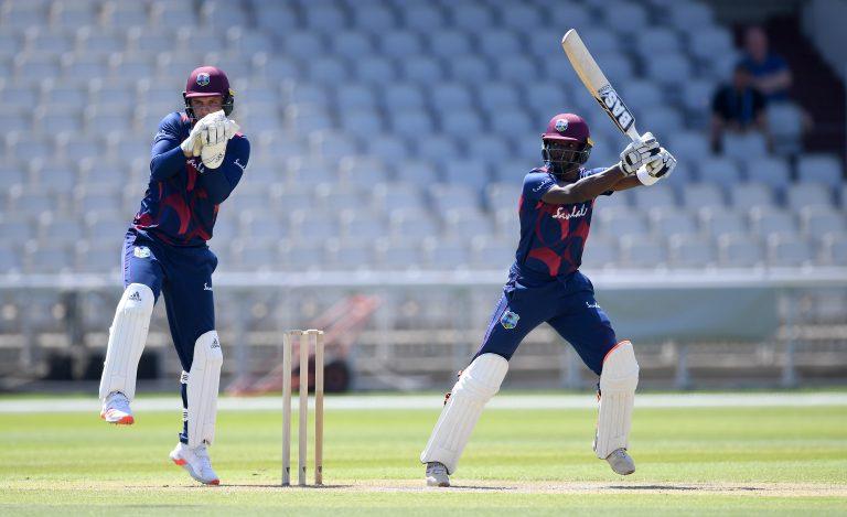 West Indies' Shamarh Brooks bats watched on by Joshua Da Silva