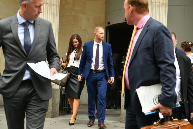 Stokes, centre, was found not guilty of affray by a jury at Bristol Crown Court in 2018