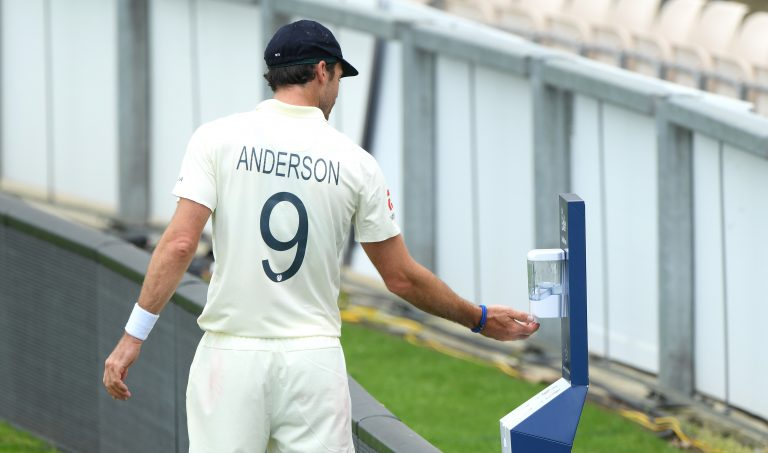 James Anderson made use of a pitch-side hand sanitation point
