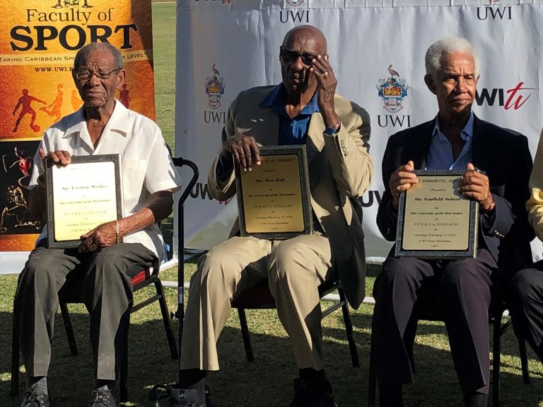 Sir Everton Weekes, Sir Wes Hall and Sir Garfield Sobers are honoured as 'immortals' during a presentation at the 3Ws Oval at Cave Hill, Barbados