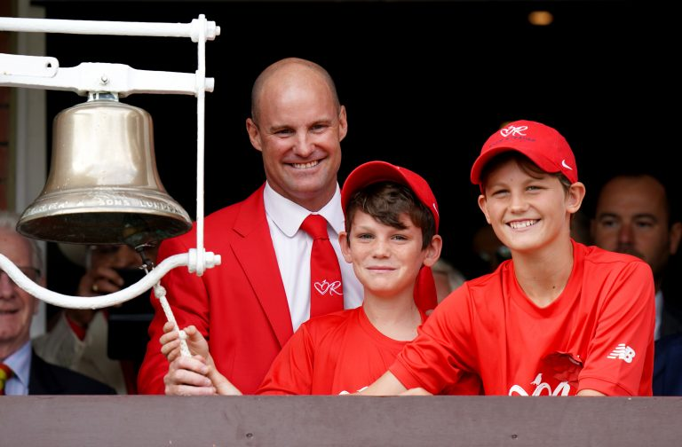 The Strauss family ring the five-minute bell at Lord's last year.