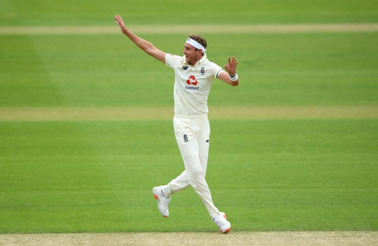 England's Stuart Broad, complete with bandana, appeals unsuccessfully for a wicket