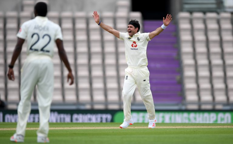 England's James Anderson appeals for the wicket of John Campbell