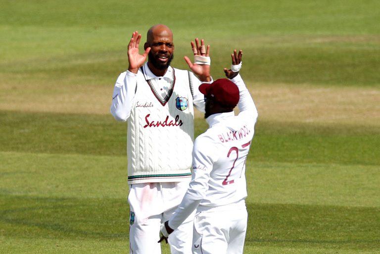 Roston Chase celebrates a wicket