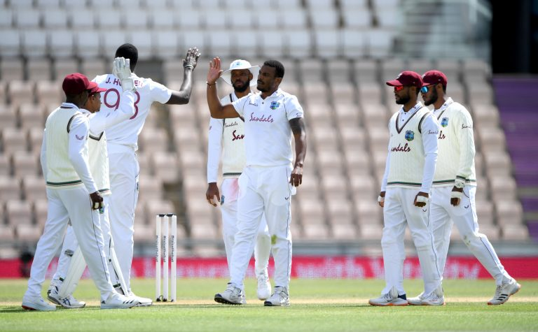Shannon Gabriel (centre) celebrates after the wicket of Dom Sibley