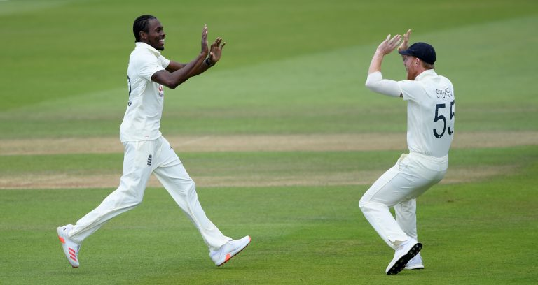 Jofra Archer, left, took three wickets in West Indies' second innings in the first Test last week (Mike Hewitt/NMC Pool/PA)