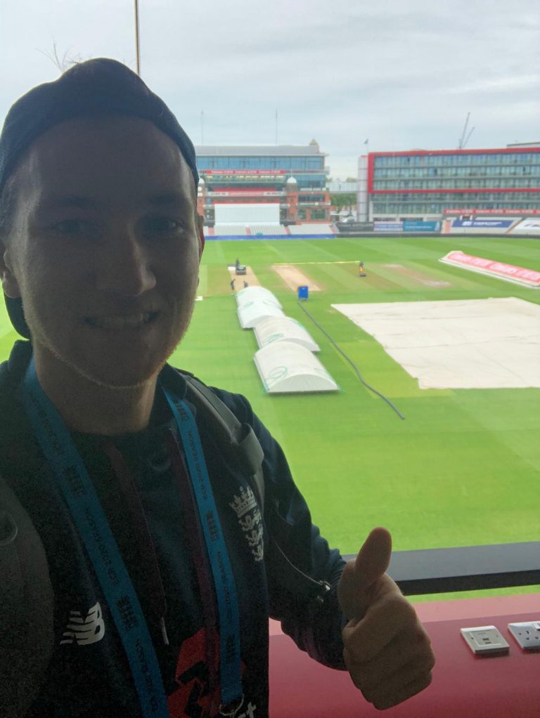 James Bracey on site at Emirates Old Trafford
