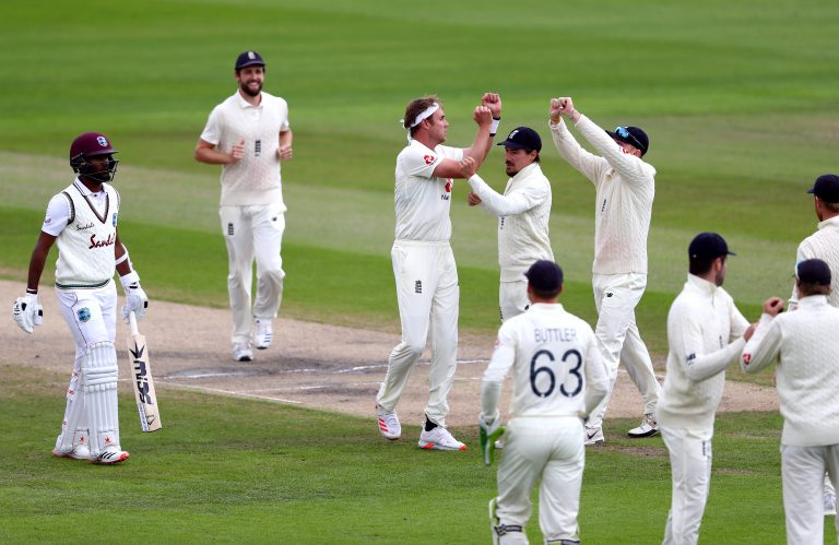 England's Stuart Broad celebrates taking the wicket of West Indies' Kraigg Brathwaite
