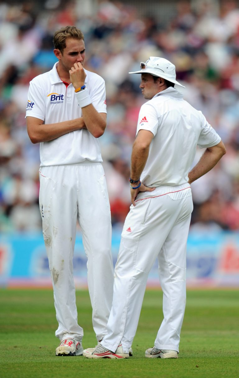 Stuart Broad sharing the field with Sir Andrew Strauss.