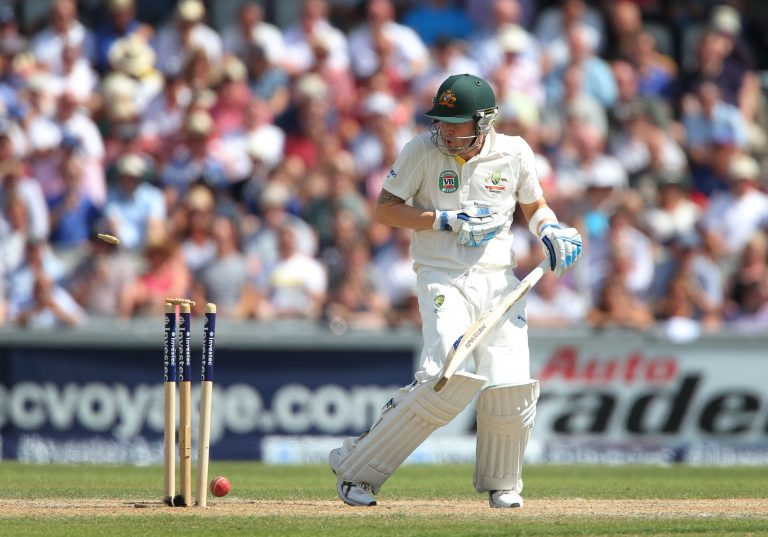 Australia captain Michael Clarke is bowled to give Stuart Broad his 200th wicket in Test cricket during the 2013 Ashes series