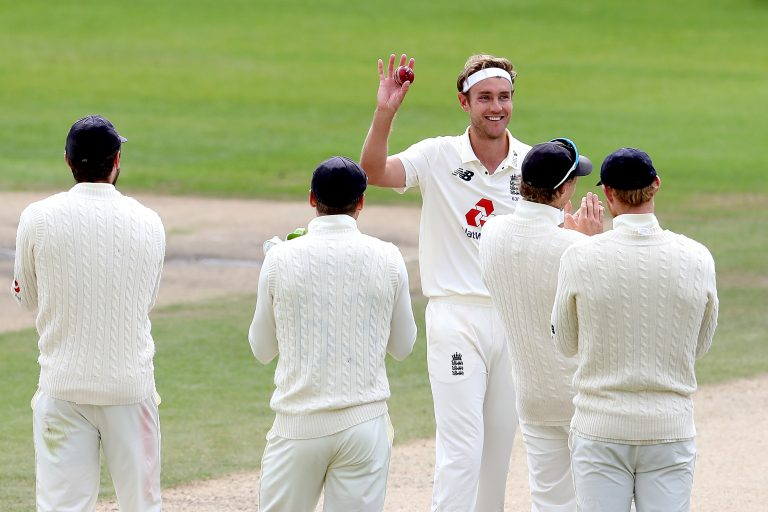 Stuart Broad, centre, responded magnificently after being left out of the series opener against the West Indies (Martin Rickett/PA)