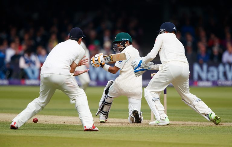Babar Azam in action during the 2018 Lord's Test.