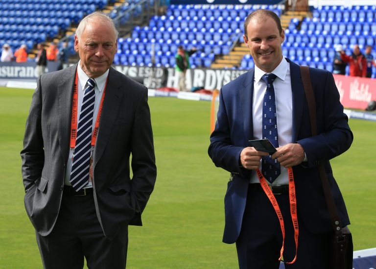 Colin Graces (left) with former England captain Sir Andrew Strauss.