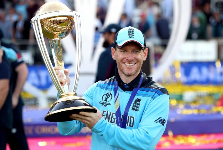 England captain Eoin Morgan lifts the World Cup trophy. England became world champions in both the men's and women's games during Colin Graves' reign as ECB chairman