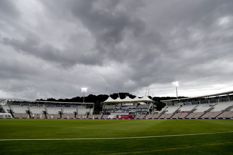 The floodlights are on during day three of the third Test