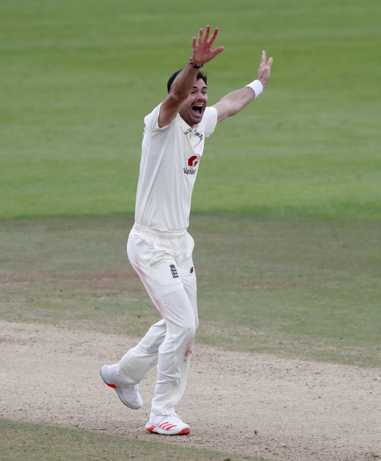James Anderson celebrates his 599th Test wicket