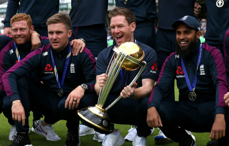 Jason Roy, second left, was instrumental in England's 50-over World Cup win last year (Steven Paston/PA)