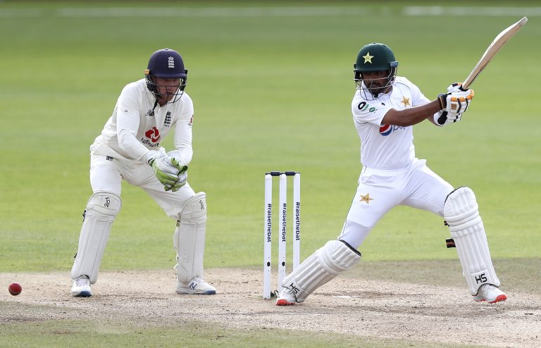 An unbeaten half-century from Babar Azam, right, helped Pakistan draw the third Test against England (Alastair Grant/PA)