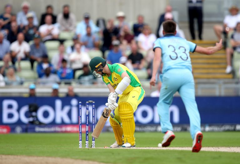 Mark Wood bowls Australia's Jason Behrendorff during last year's World Cup semi-final